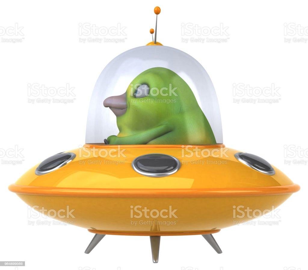 趣味綠鳥-3D 插畫 - 免版稅不明飛行物體圖庫照片