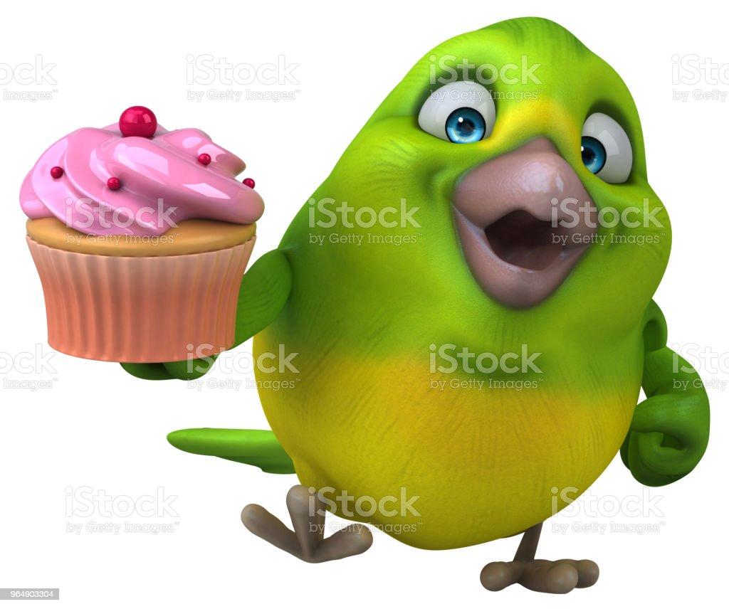 Fun green bird - 3D Illustration royalty-free stock photo