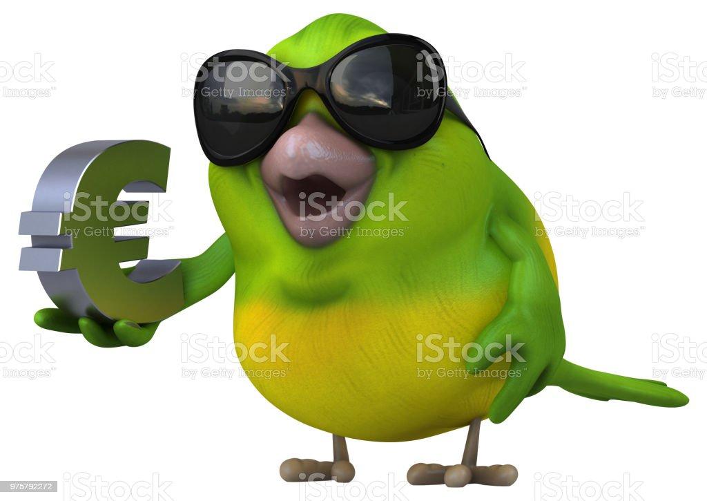 Spaß grüne Vogel - 3D Illustration - Lizenzfrei Comic - Kunstwerk Stock-Foto