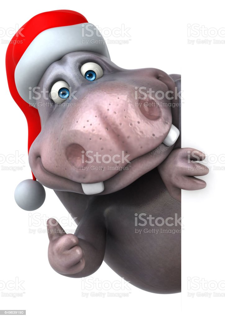Fun hippo - 3D Illustration stock photo