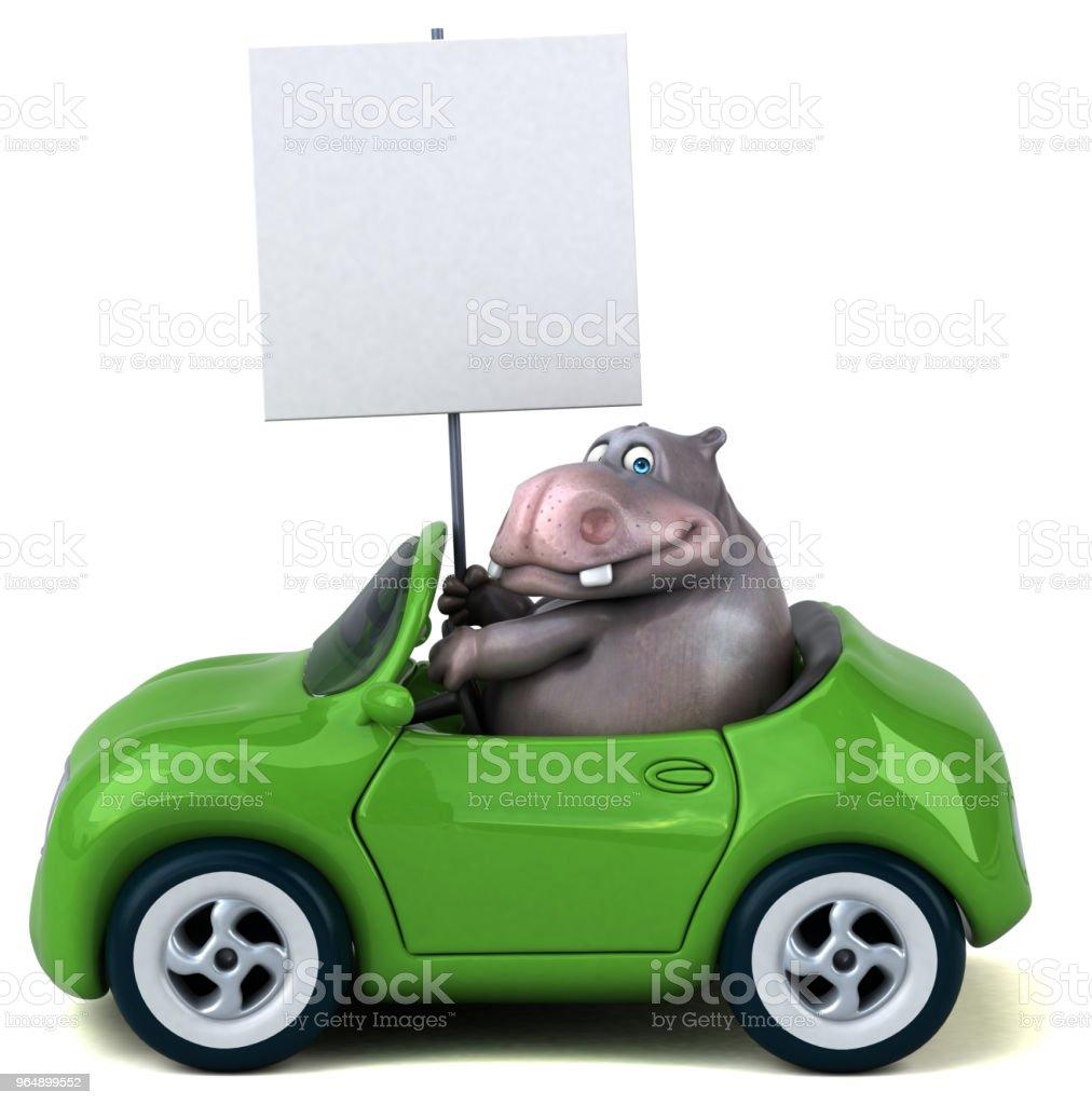 Fun hippo - 3D Illustration royalty-free stock photo