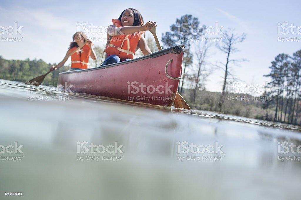 Fun in a canoe stock photo
