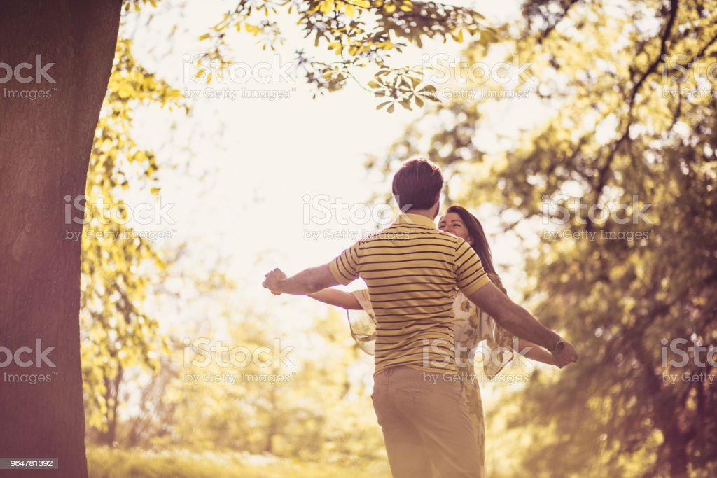 Fun in nature. Couple in love. royalty-free stock photo