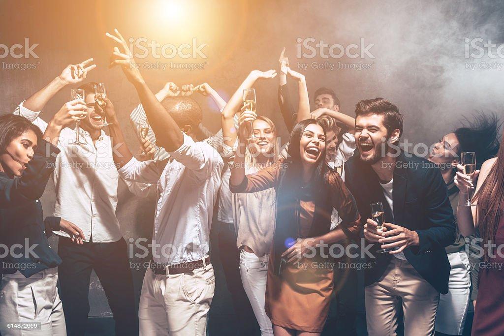 Fun is all they need tonight. stock photo