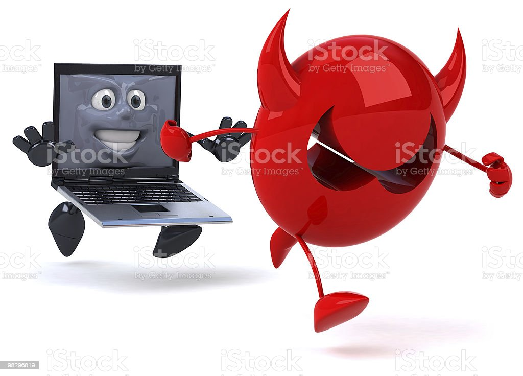 Fun laptop and virus royalty-free stock photo