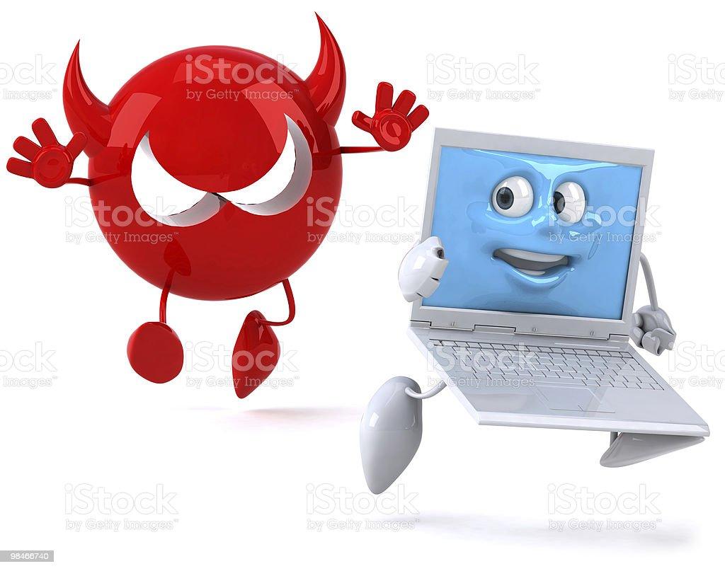Fun laptop and virus royalty-free stock photo