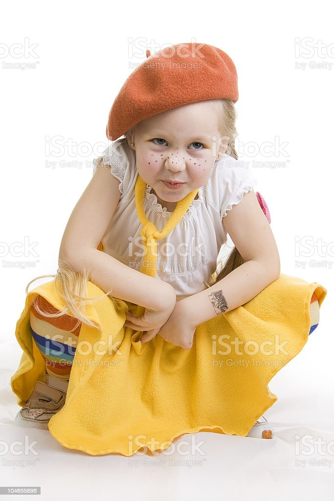 Fun little girl grimacing. royalty-free stock photo