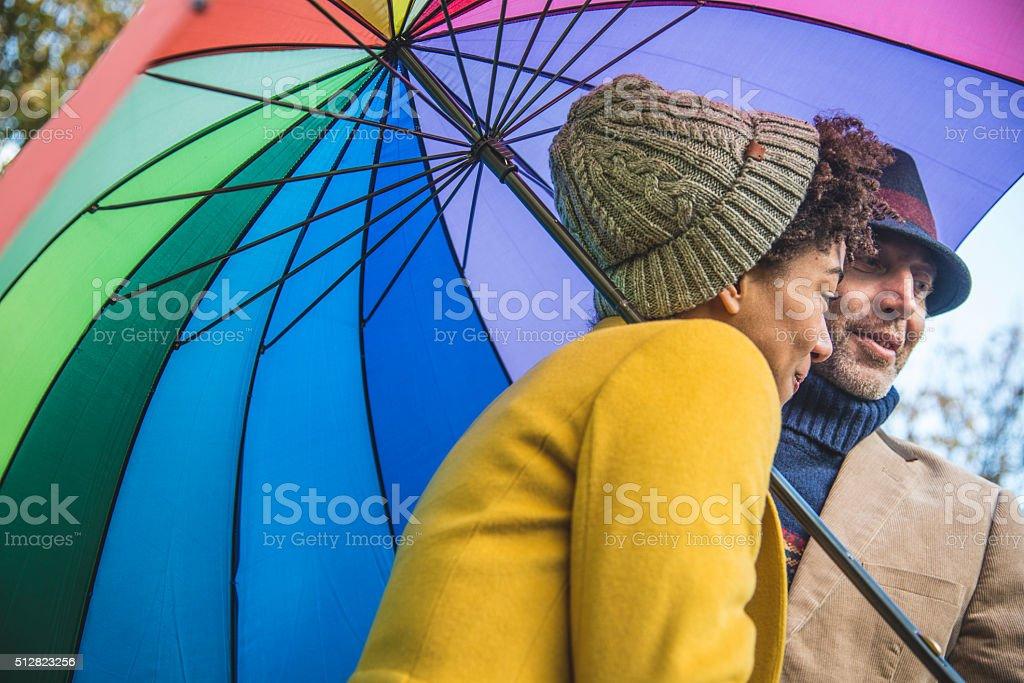 Fun on a rainy day stock photo