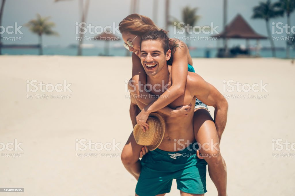 Fun on beach stock photo