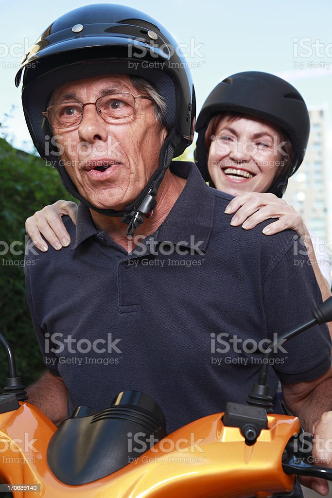 Fun on scooter royalty-free stock photo