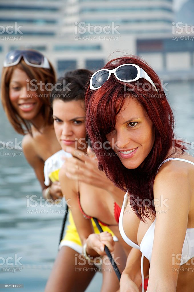 Fun on the catamaran royalty-free stock photo