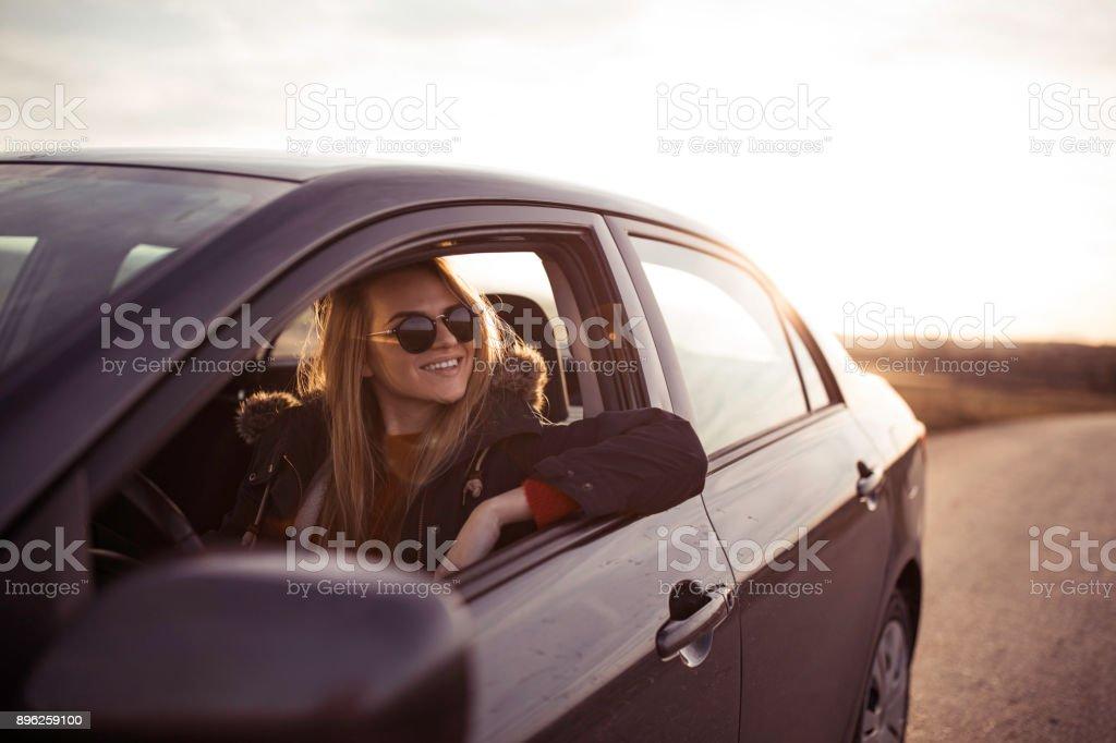 Fun on the roadtrip stock photo