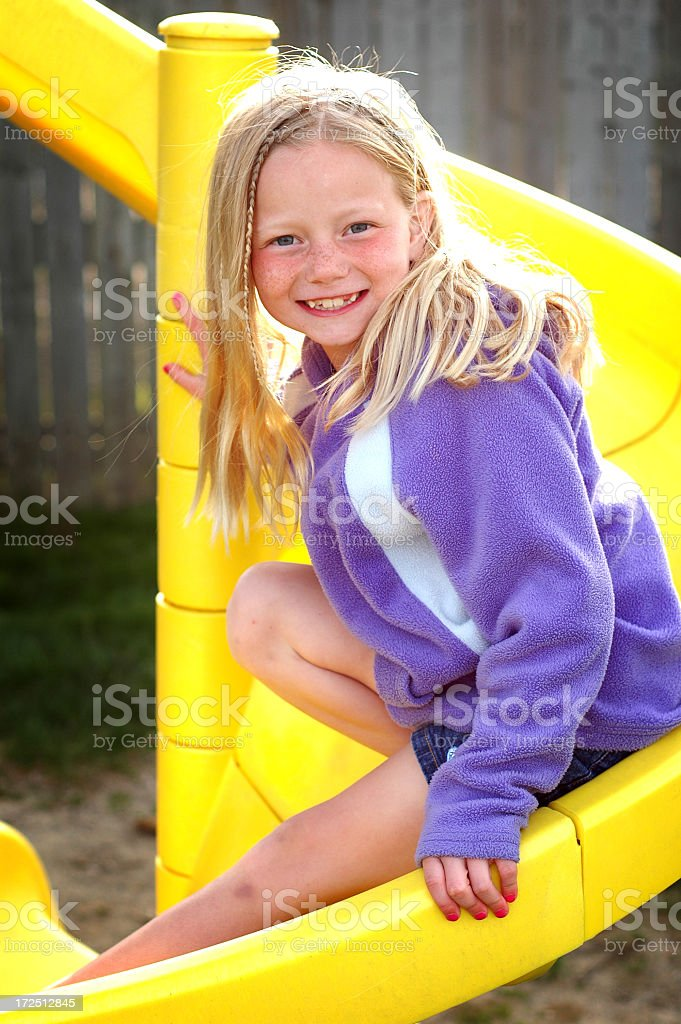 Fun on the Slide stock photo