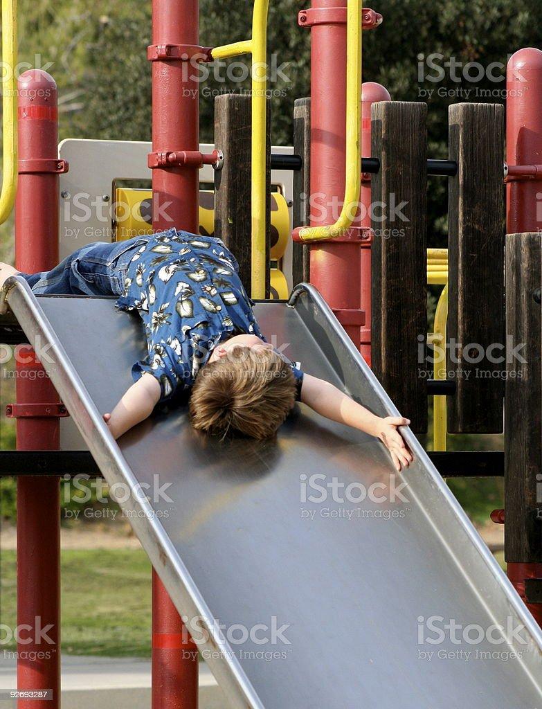 Fun on the Slide royalty-free stock photo