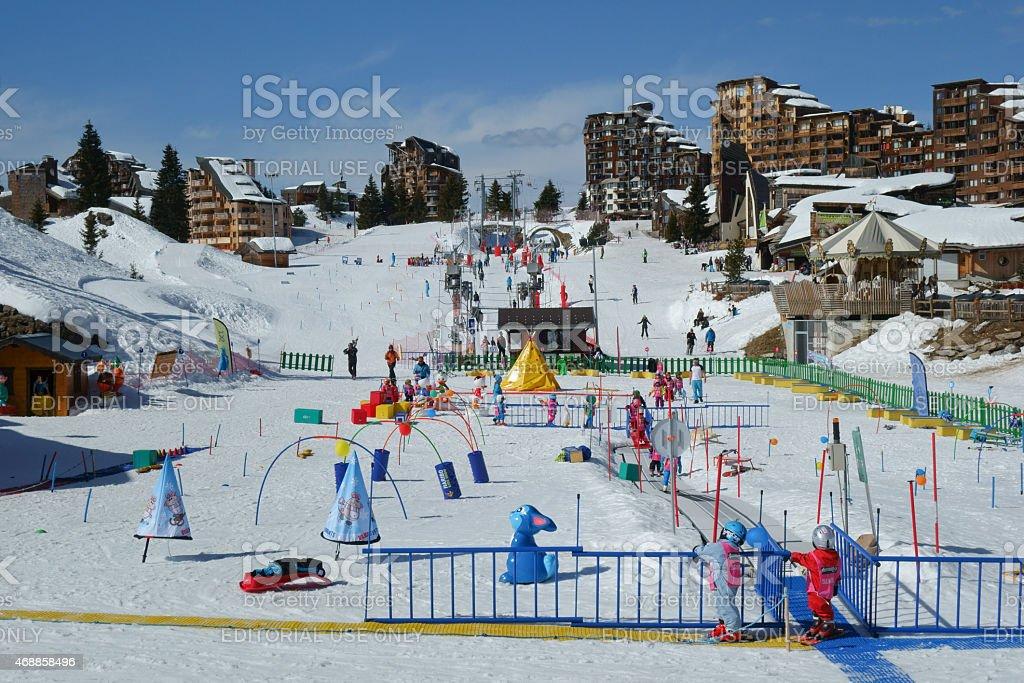 Fun on the snow in Avoriaz stock photo