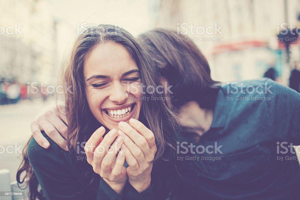 Fun outdoors Happy young couple having fun at urban scene 20-29 Years Stock Photo