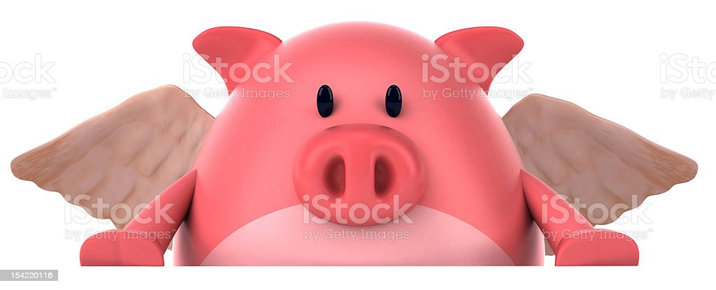 Fun pig with wings stock photo