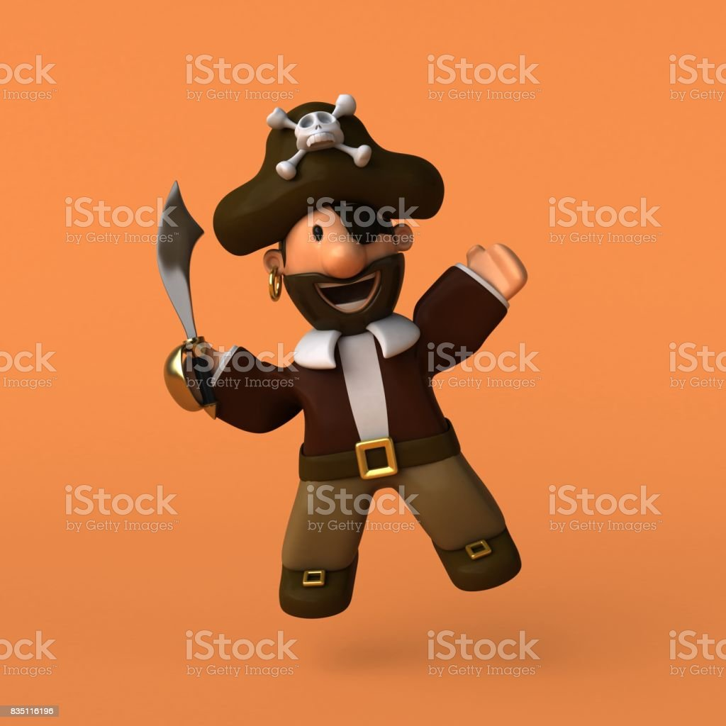 Fun pirate - 3D illustration stock photo
