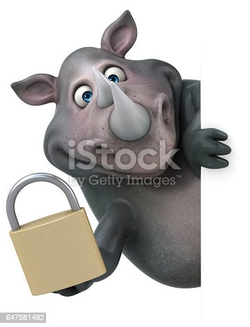 istock Fun rhinoceros - 3D Illustration 647581492
