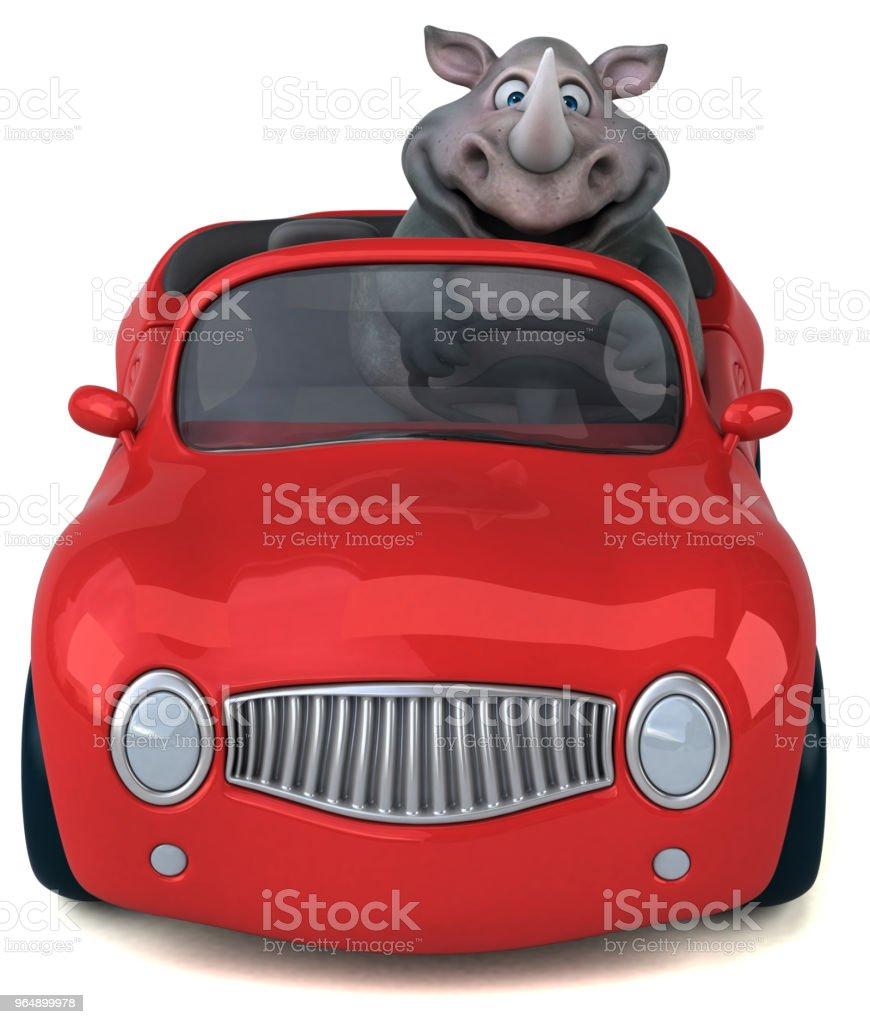 Fun rhinoceros - 3D Illustration royalty-free stock photo