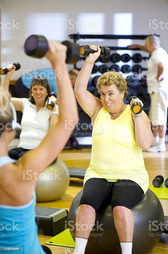 fun seniors workout royalty-free stock photo