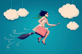 Happy woman on the broom is flying in the sky after shopping.