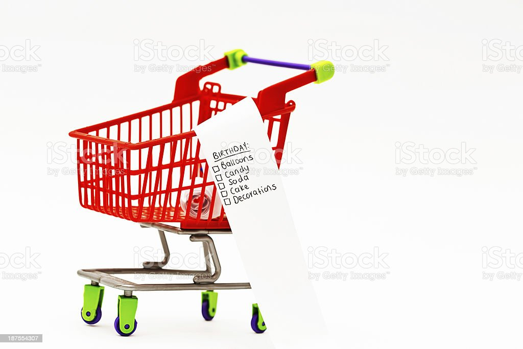 Fun Shopping Tiny Trolley With Birthday Party List Stock Photo