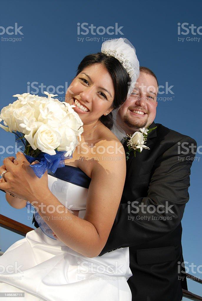 Fun summer wedding portrait royalty-free stock photo