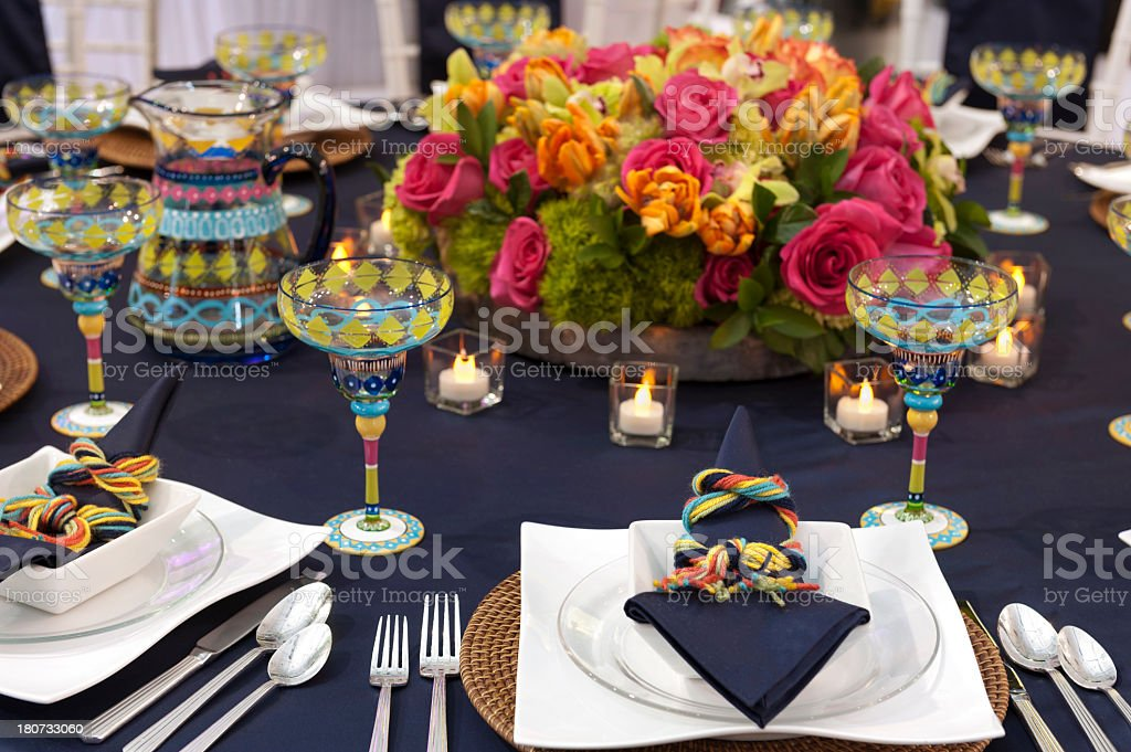 Fun table setting with Mexican theme flowers bright colors royalty-free stock photo & Fun Table Setting With Mexican Theme Flowers Bright Colors Stock ...