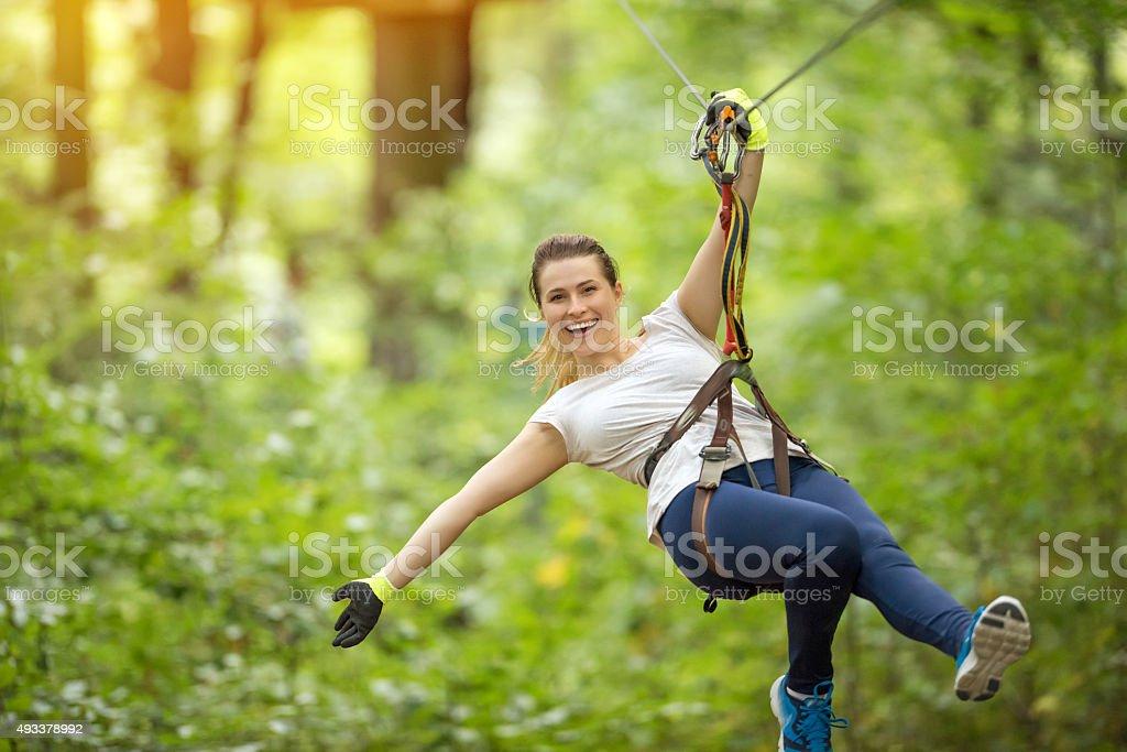 fun time in tyrolean traverse stock photo