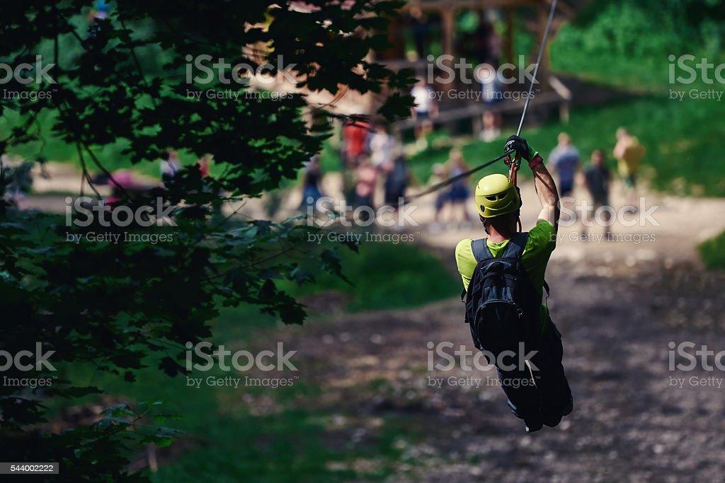 fun time on tyrolean traverse stock photo