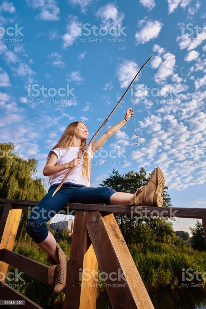 fun time while fishing stock photo