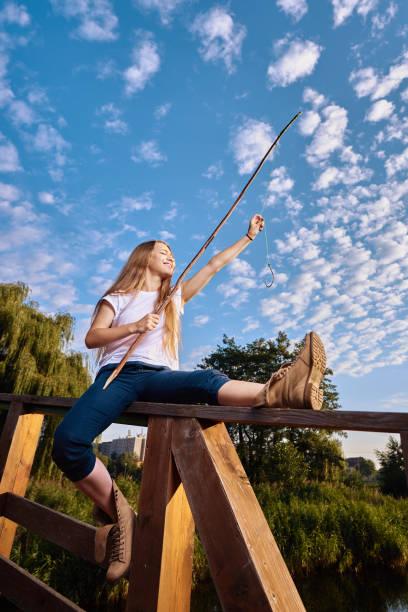 fun time while fishing stock photo