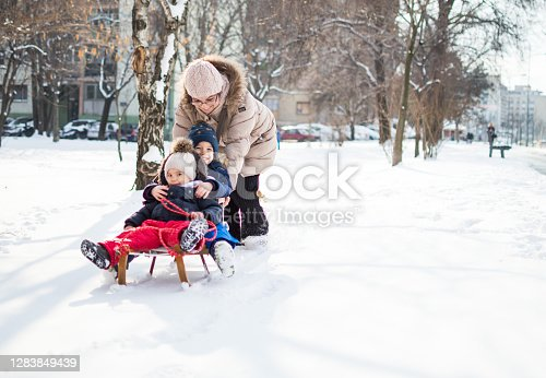 Fun times on the snow with our granny.
