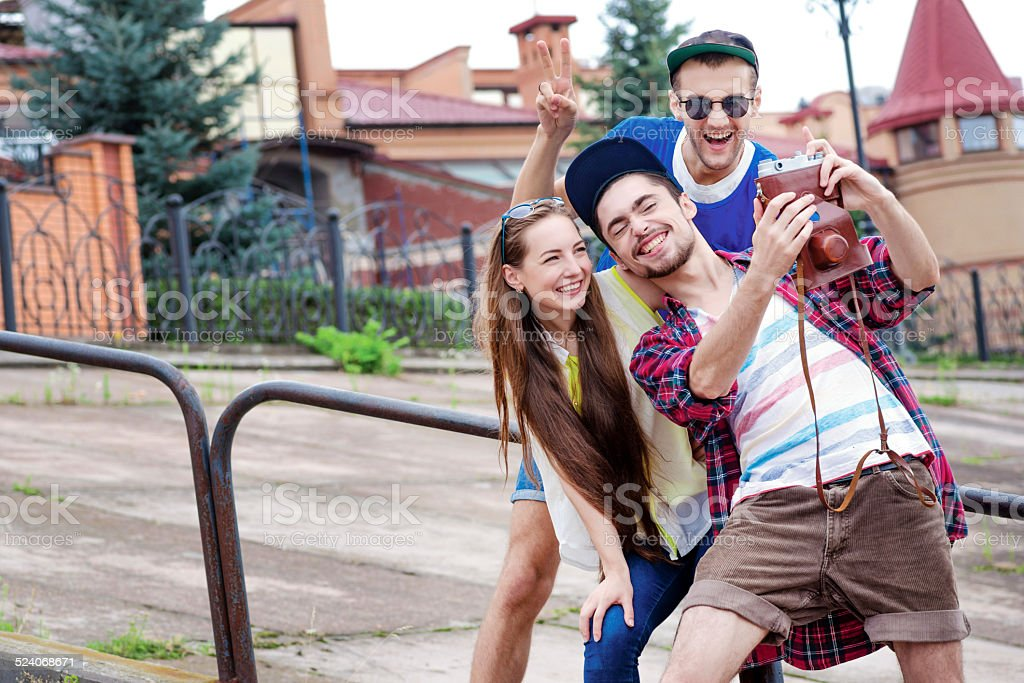 Fun together. Friends have fun together outdoors. Young people h stock photo