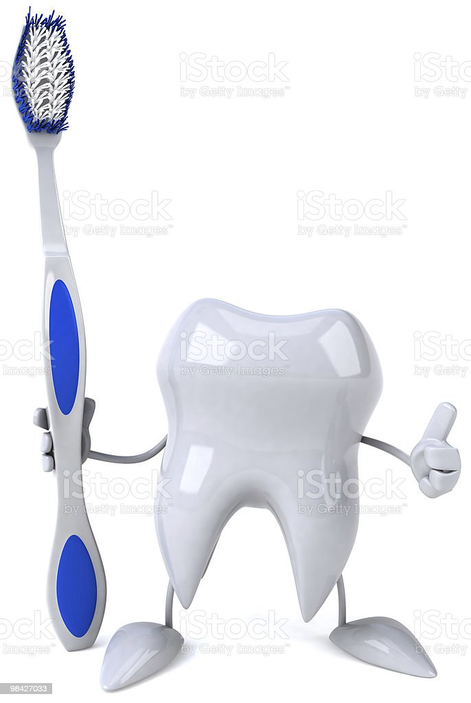 Fun tooth with a toothbrush royalty-free stock photo
