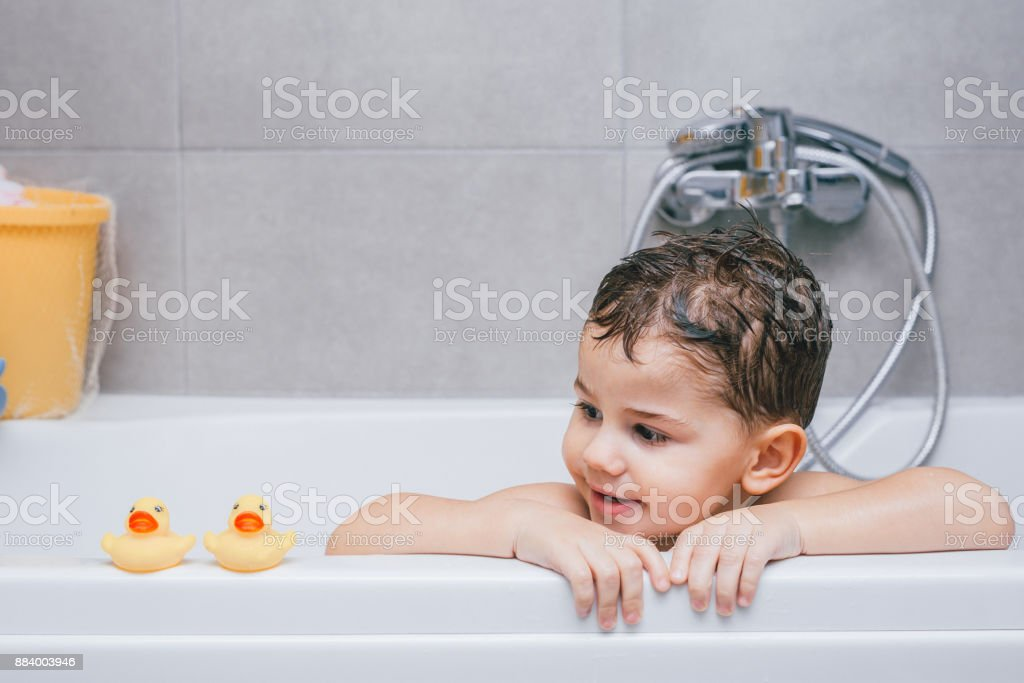 Fun while bathing stock photo