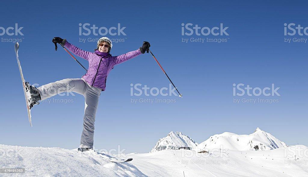 Fun while skiing royalty-free stock photo