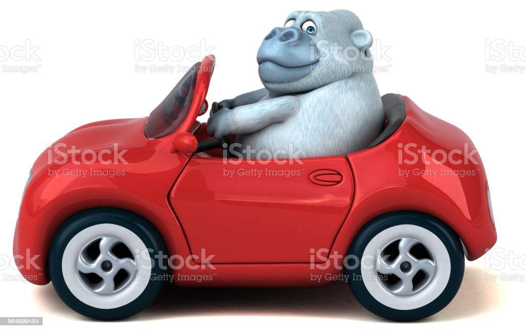 Fun white gorilla - 3D Illustration royalty-free stock photo
