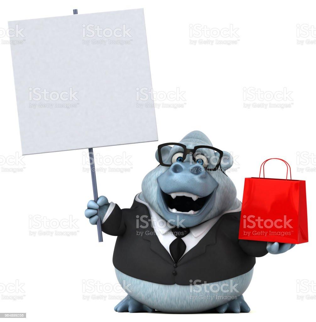 Fun white monkey - 3D Illustration royalty-free stock photo