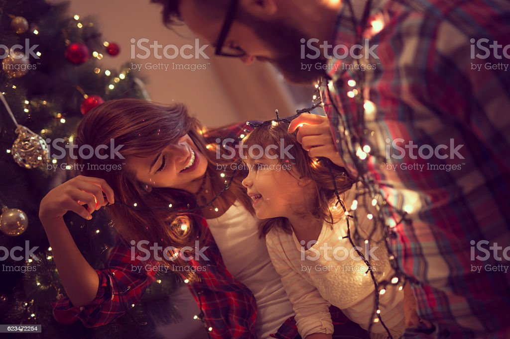 Fun with Christmas lights stock photo