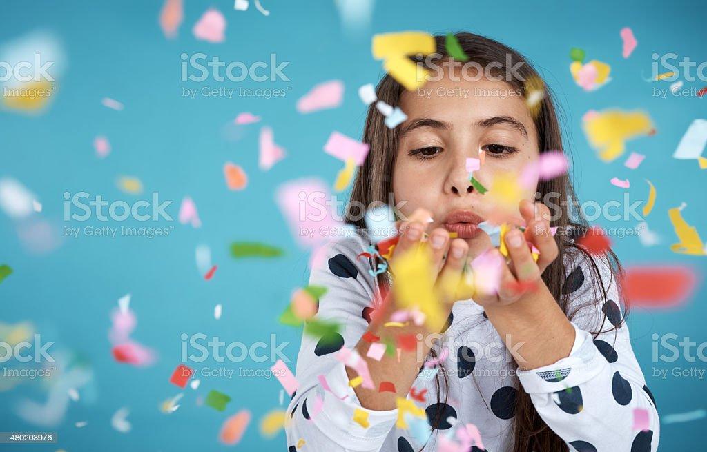 Fun with confetti stock photo