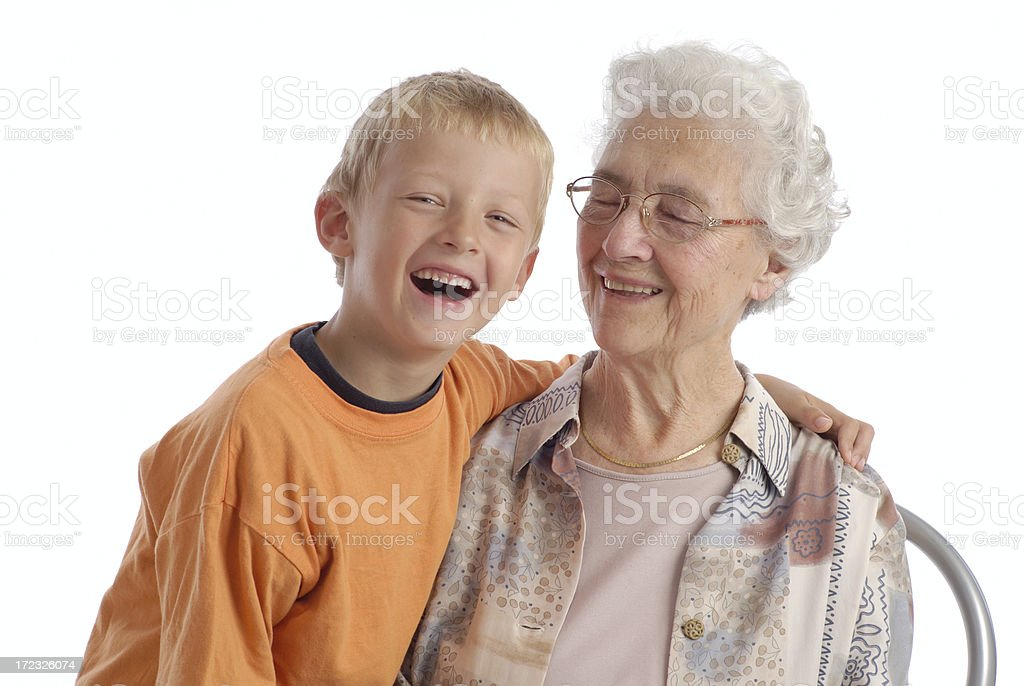 Fun with grandma royalty-free stock photo
