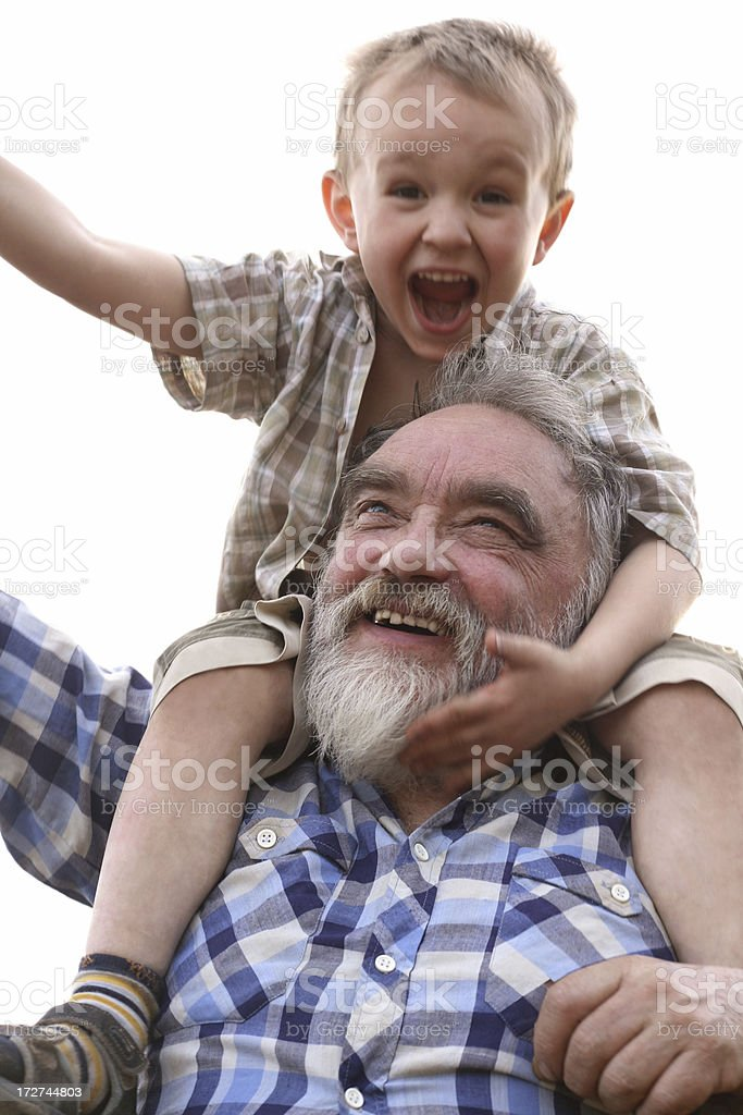 Fun with grandpa royalty-free stock photo