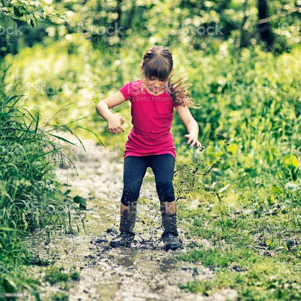 Fun with mud stock photo