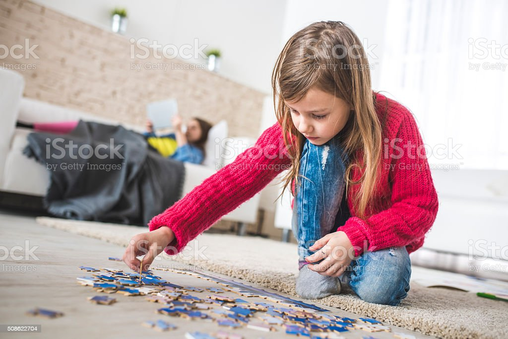 Fun with puzzles stock photo