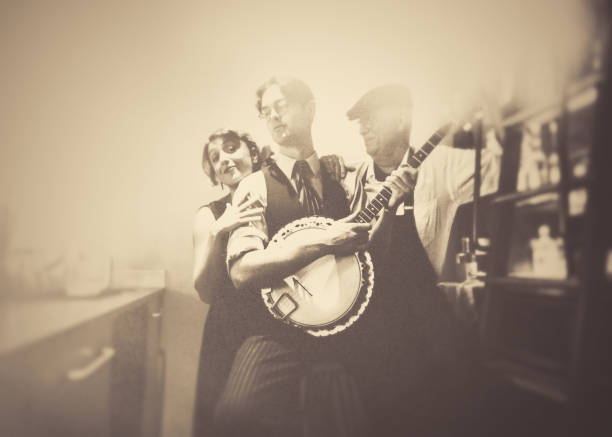 Fun with the banjo player in the bar!!! Banjo, Analog, Music, Art, Close-up, Beauty, vintage, couple, trio, diva human role stock pictures, royalty-free photos & images