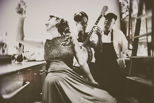 Banjo, Analog, Music, Art, Close-up, Beauty, vintage, couple, trio,