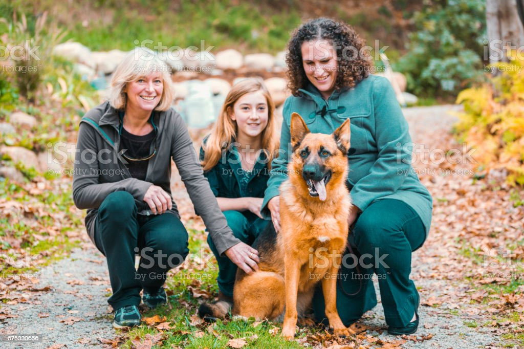 Multi-Generation women together having fun after a walk stroking and...