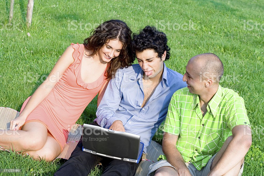 Fun with the laptop royalty-free stock photo